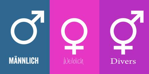 Männlich Weiblich Divers Geschlecht Piktogramm
