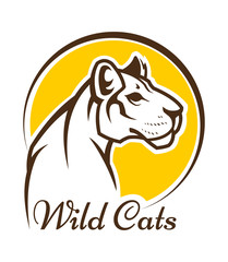 Cougar mascot silhouette, wild cat panther sign