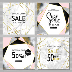 Modern geometric social media banners with golden lines, triangles, marble and watercolor texture background. Square template for design card, flyer, invitation, party, birthday, wedding, website