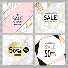 Modern geometric social media banners with golden lines, triangles, marble texture background. Square template for design card, flyer, invitation, party, birthday, wedding, website