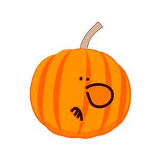 A little disgruntled pumpkin. Vector
