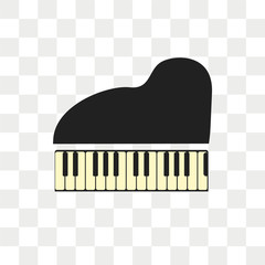 Piano vector icon isolated on transparent background, Piano logo design