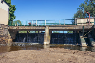Water dam on River Liwiec in Kalinowiec, small village in Masovian Voivodeship of Poland