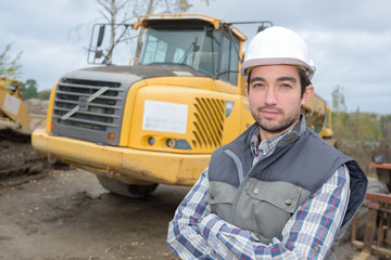 Portrait of man on building site