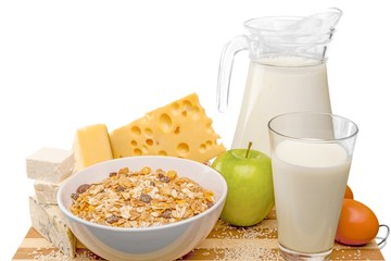 Dairy Products with Eggs, Cereals and Apple