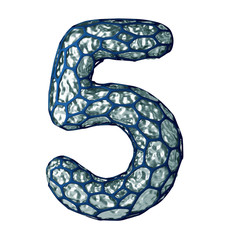 Number 5 five made of silver shining metallic 3D with blue cage isolated on white