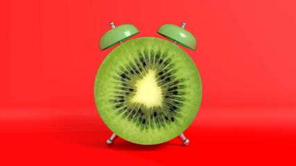 Réveille matin vintage en forme de kiwi. Concept illustrant qu'il est l'heure de prendre ses vitamines. Rendu 3D.