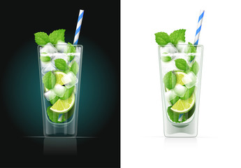 Mojito glass with pipe. Alcohol cocktail. Alcoholic classic