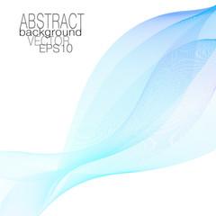 Blue, aquamarine veil waveform. Line art vector design element, waving lines. Flowing ribbon imitation. Abstract elegant wave pattern. Sea concept, template for invitations, leaflets, posters. EPS10