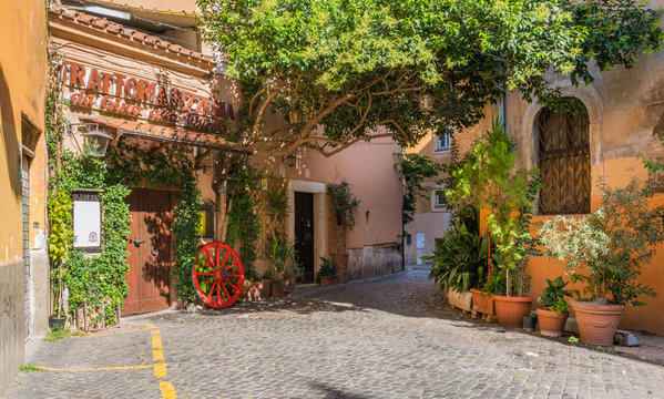 The pictiresque Rione Trastevere on a summer morning, in Rome, Italy.