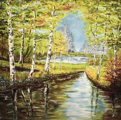 Gemälde Birken am Fluss