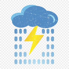 Grunge blue cloud icon with lightning and rain. Cartoon illustration of blue cloud with lightning and rain vector icon for web. Application on t-shirts, bags. Isolated on transparent background.