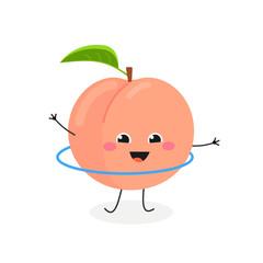 Merry cartoon peach hula hooping