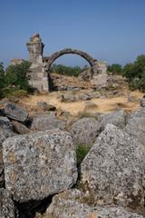 Roman Bath ruins in Alexandria Troas ancient city, Canakkale, Turkey