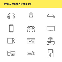 Vector illustration of 12 gadget icons line style. Editable set of cellphone, router, photo camera and other icon elements.