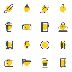 Vector illustration of 16 tools icons line style. Editable set of envelope, clock, clip and other icon elements.