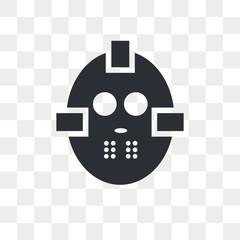 Hockey mask vector icon isolated on transparent background, Hockey mask logo design