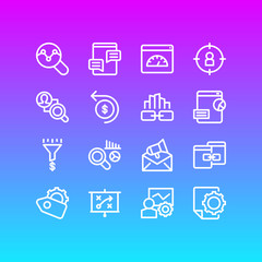 Vector illustration of 16 advertisement icons line style. Editable set of competitor analysis, blog commenting, related content and other icon elements.