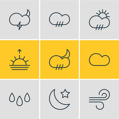 Vector illustration of 9 atmosphere icons line style. Editable set of drop, wind, snowstorm and other icon elements.