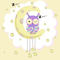 Owl sitting on the moon. Vector illustration.