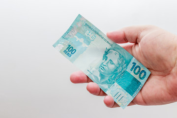 Note of 100 Reais, current money Brazilian
