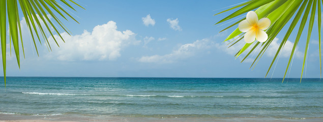 Empty sea and beach background with copy space. Beach scene