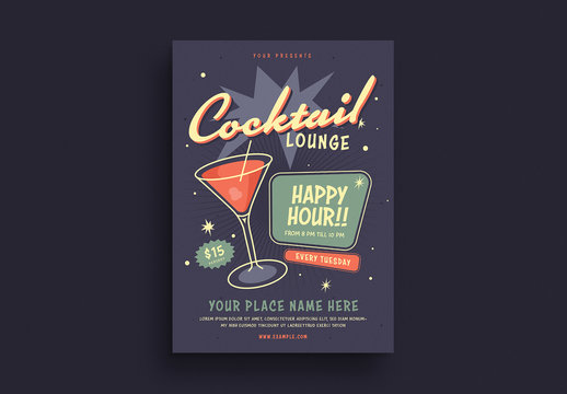 Cocktail Lounge Happy Hour Flyer Layout