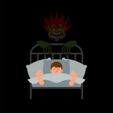 Guy in bed and Nightmare. Horror of night. Horrible dream. Monster in night. Vector illustration