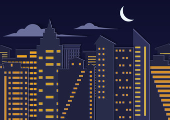Landscape paper cuted art style night urban city with moon.