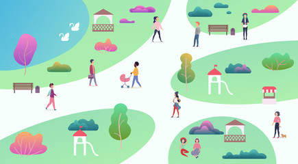 Top map view of various people at park walking and performing leisure outdoor sport activities. City park with lake vector illustration.