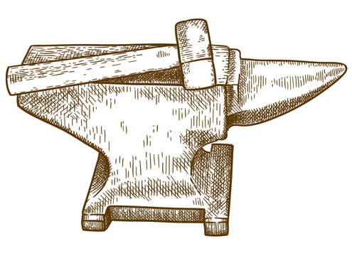 engraving  illustration of anvil and hammer