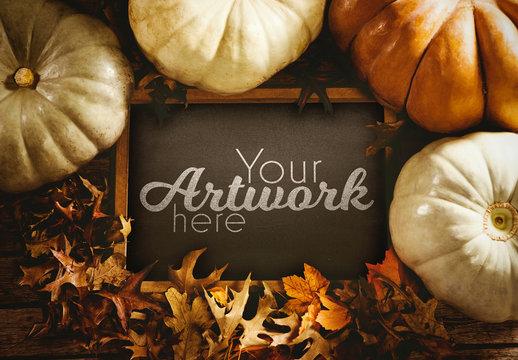 Blackboard Mockup Surrounded by Pumpkins