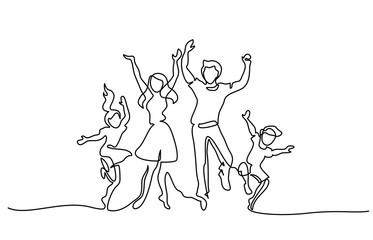 Continuous one line drawing. Happy family mother and father dancing with children. Vector illustration. Concept for logo, card, banner, poster, flyer Fototapete