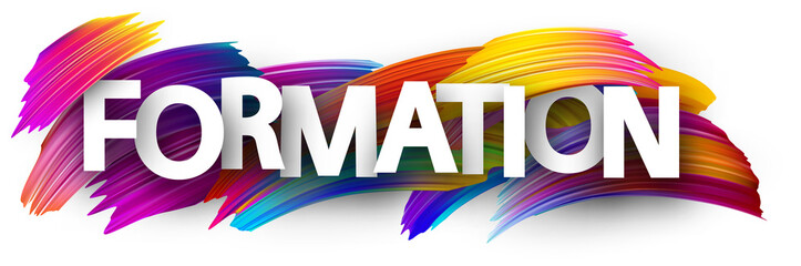 Formation banner with colorful brush strokes.
