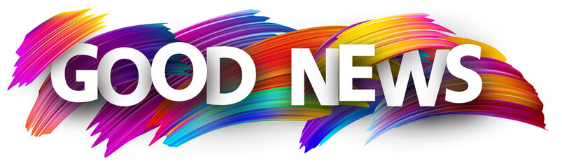 Good news sign with colorful brush strokes.