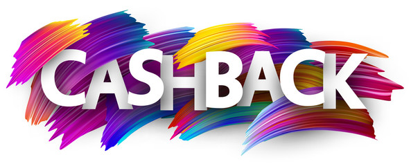 Cashback sign with colorful brush strokes.