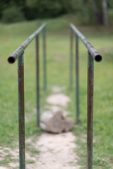 parallel bars for gymnastic exercises. Outdoor gym