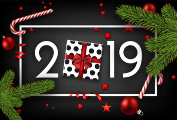 Black 2019 happy New Year card with top view gift.