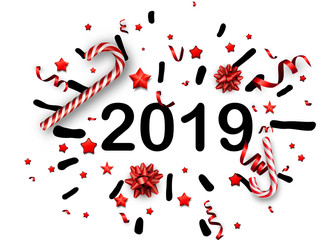 White 2019 New Year background with red bow and candy.