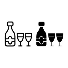 Champagne bottle with two glasses line and glyph icon. Celebration bottle and glasses vector illustration isolated on white. Glass outline style design, designed for web and app. Eps 10.