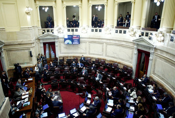 Senators await a quorum, to debate the withdrawal of parliamentary privileges from an Argentine senator and former president Cristina Fernandez de Kirchner, at the Congress in Buenos Aires