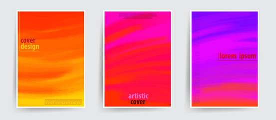 Minimal covers design. Cool artistic backgrounds. Hand drawn colorful strokes with gradient effect. Eps10 vector.