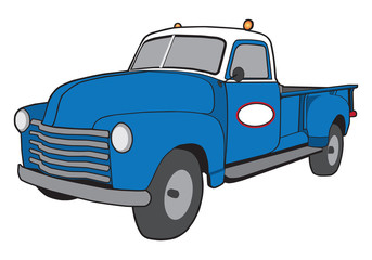 A cartoon generic retro service truck painted blue and white