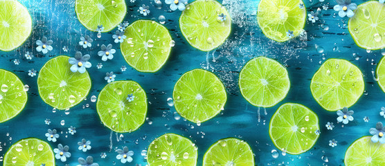 Lime slices. Lifestyle background