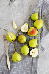 Healthy Organic Pears in Bowl Gray Background Autumn Harvest