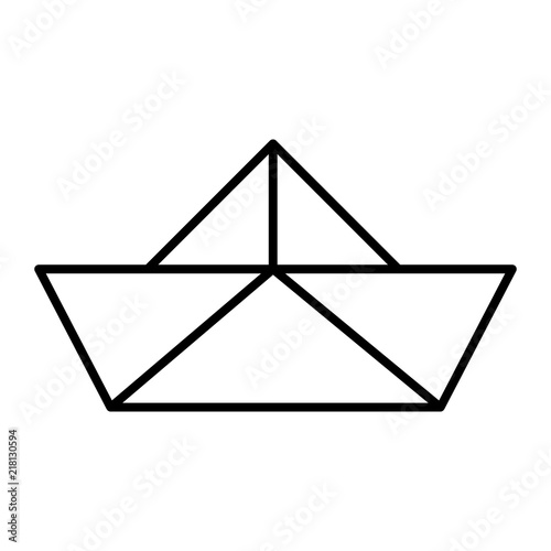 Paper Boat Thin Line Icon Origami Vector Illustration Isolated On White Ship Outline