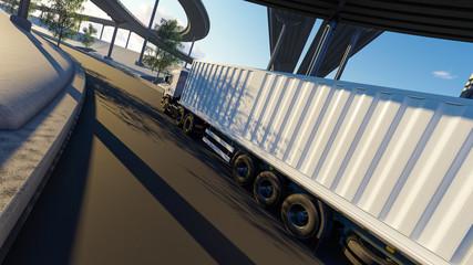 Semi Trailer Moving Under Bridges in Broad Daylight