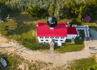 Aerial Drone image of the East Point Lighthouse on the Maurice River entrance to the Delaware Bay outside of Cape May
