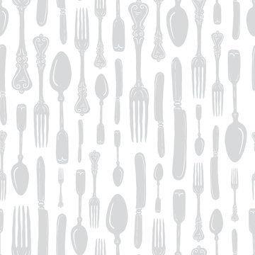 Seamless Vintage Heirloom Silverware - Fork, Spoon, Knife - Vector Repeat Pattern in Subtle Gray on Light Background