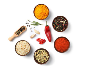 Zelfklevend Fotobehang Kruiden Composition with different aromatic spices on white background, top view